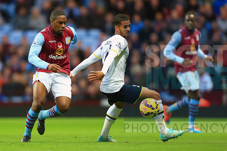 Charles N'Zogbia of Aston Villa takes the ball past Tottenham's Kyle Naughton - Aston Villa vs. Tottenham Hotspurs - Barclay's Premier League - Villa Park - Birmingham - 02/11/2014 Pic Philip Oldham/Sportimage