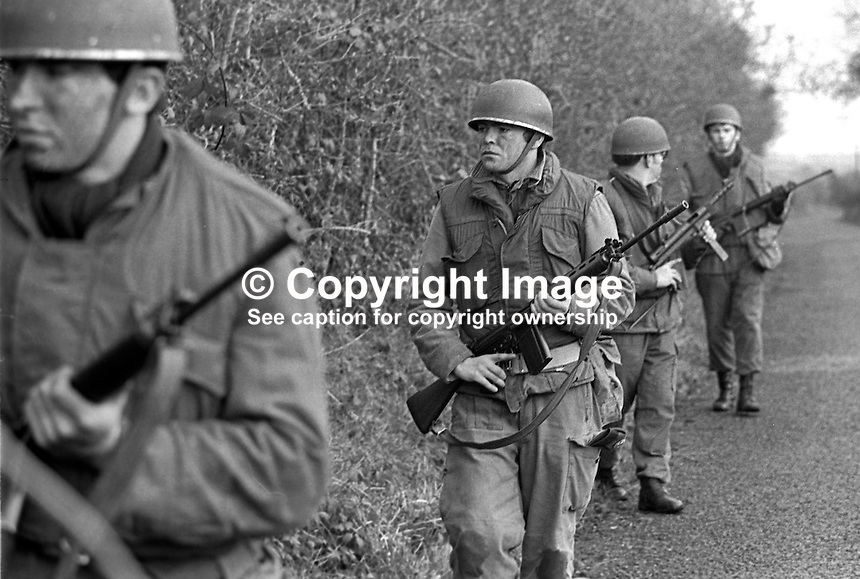 Irish Army soldiers of 27th Battalion stationed in Dundalk, Co Louth, on patrol along the border with South Armagh, N Ireland. 197512120773k..Copyright Image from Victor Patterson, 54 Dorchester Park, Belfast, United Kingdom, UK...For my Terms and Conditions of Use go to http://www.victorpatterson.com/Victor_Patterson/Terms_%26_Conditions.html