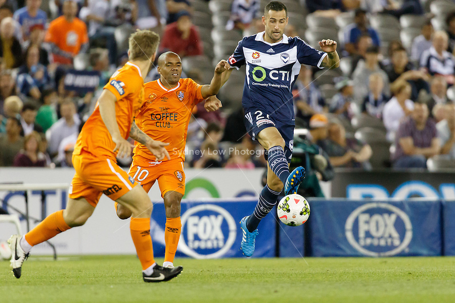 Carl VALERI of the Victory kicks the ball in the round seven match between Melbourne Victory and Brisbane Roar in the Australian Hyundai A-League 2014-15 season at Etihad Stadium, Melbourne, Australia.