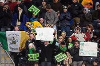 Notre Dame Fighting Irish fans celebrate a goal. The Notre Dame Fighting Irish defeated the Maryland Terrapins 2-1 during the championship match of the division 1 2013 NCAA  Men's Soccer College Cup at PPL Park in Chester, PA, on December 15, 2013.