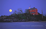 Marquette Lighthouse moonrise 2 lighthouses in the Upper Peninsula of Michigan