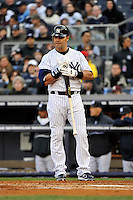 Apr 02, 2011; Bronx, NY, USA; New York Yankees outfielder Nick Swisher (33) during game against the Detroit Tigers at Yankee Stadium. Yankees defeated the Tigers 10-6. Mandatory Credit: Tomasso De Rosa