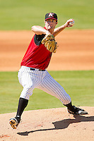 Kannapolis Intimidators starting pitcher Scott Snodgress #37 in action against the Hickory Crawdads at CMC-Northeast Stadium on April 8, 2012 in Kannapolis, North Carolina.  The Intimidators defeated the Crawdads 12-11.  (Brian Westerholt/Four Seam Images)