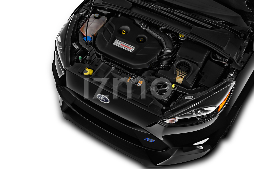 Car Stock 2017 Ford Focus RS 5 Door Hatchback Engine  high angle detail view