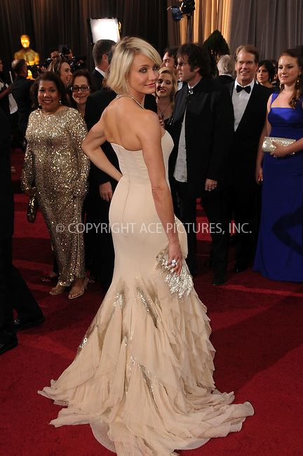 WWW.ACEPIXS.COM . . . . .  ....February 26 2012, LA....Cameron Diaz arriving at the 84th Annual Academy Awards at the Hollywood & Highland Center on February 26, 2012 in Hollywood, California....Please byline: PETER WEST - ACE PICTURES.... *** ***..Ace Pictures, Inc:  ..Philip Vaughan (212) 243-8787 or (646) 769 0430..e-mail: info@acepixs.com..web: http://www.acepixs.com