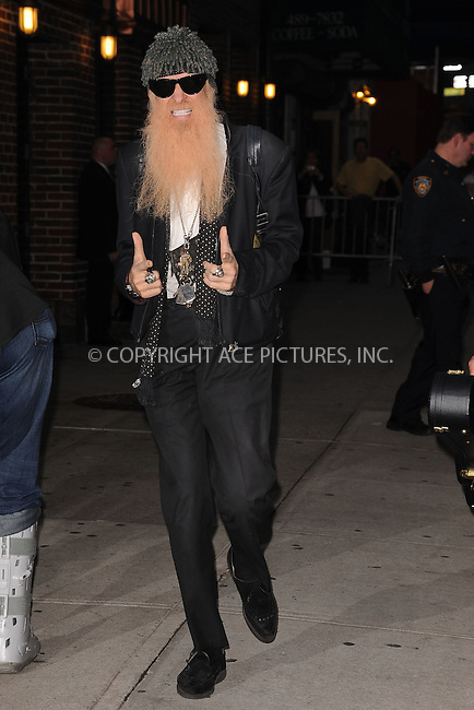 WWW.ACEPIXS.COM . . . . . .November 10, 2011...New York City....Billy Gibbons tapes an appearance on the Late Show with David Letterman on November 10, 2011 in New York City....Please byline: KRISTIN CALLAHAN - ACEPIXS.COM.. . . . . . ..Ace Pictures, Inc: ..tel: (212) 243 8787 or (646) 769 0430..e-mail: info@acepixs.com..web: http://www.acepixs.com .