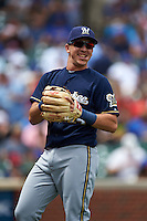 Milwaukee Brewers third baseman Hernan Perez (14) warms up before a game against the Chicago Cubs on August 13, 2015 at Wrigley Field in Chicago, Illinois.  Chicago defeated Milwaukee 9-2.  (Mike Janes/Four Seam Images)