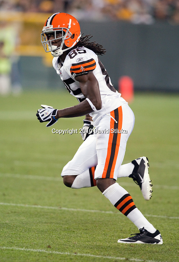 Cleveland Browns wide receiver Jake Allen (85) during an NFL preseason football game against the Green Bay Packers in Green Bay, Wisconsin on August 14, 2010. The Browns won 27-24. (AP Photo/David Stluka)