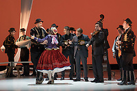Members of the Hungarian State Folk Ensemble perform their premiere piece The Thousand Faces of the Southern Land choreographed by Dezso Fitos and Eniko Kocsis during a dress rehearsal in Budapest, Hungary on May 9, 2019. ATTILA VOLGYI