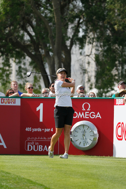 Charlie Hull (ENG) during round four of the 2014 Omega Dubai Ladies Masters being played over the Majlis Course, Emirates Golf Club, Dubai from 10th to 13th December 2014: Picture Stuart Adams, www.golftourimages.com: 13-Dec-14