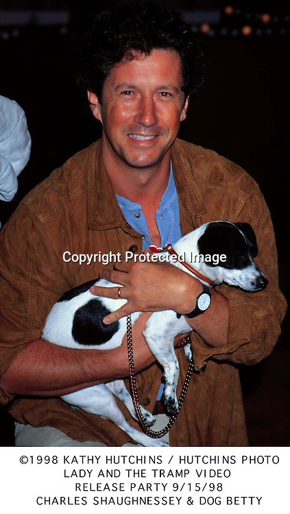 ©1998 KATHY HUTCHINS/HUTCHINS POHOTO.LADY AND THE TRAMP VIDEO.RELEASE PARTY 9/15/98.CHARLES SHAUGHNESSEY & DOG BETTY