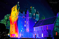 Crathes Castle floodlit during the Enchanted Castle sound and light event on Royal Deeside. (son et lumiere event)<br />