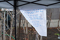 Guidelines for demonstrators are seen on a piece of paper hanging behind the stage at the March for Science demonstration in Harvard University's Science Center Plaza in Cambridge, Massachusetts, on Sat., April 22, 2017. <br /> <br /> Guidelines include, &quot;I will not talk with the police,&quot; &quot;I will march at my own risk,&quot; &quot;I will pay attention when in the street,&quot; &quot;I will sing, chant and make new friends (but only if I want to),&quot; and &quot;I will march for SCIENCE!&quot;