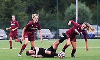 20200723, BEVEREN ,  BELGIUM : Brugge's Talitha De Groote (right) pictured in a duel with watching Brugge's Marith Decabooter watching (left) during a friendly soccer game between Bosdam Beveren and Club Brugge YLA Dames  in the preparations for the coming season 2020 - 2021 of Belgian Women's SuperLeague ,23 th of July 2020  in Beveren , Belgium . PHOTO SPORTPIX.BE | SEVIL OKTEM