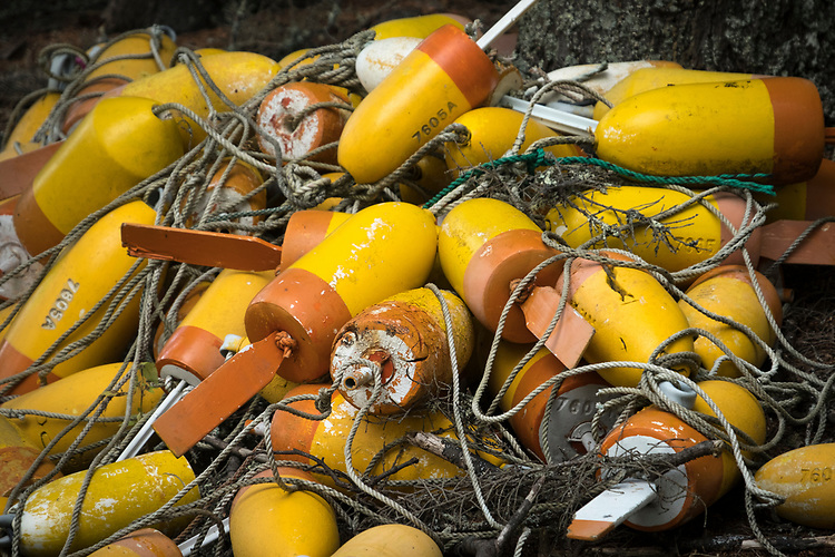 This pile of lobster trap buoys go a long way in symbolizing what the primary economy is based upon at Deer Isle, Maine.