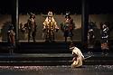 "London, UK. 04.10.2017. Ninagawa Company presents William Shakespeare's ""Macbeth"" at the Barbican Centre.  This production is directed by Yukio Ninagawa, with set design by Kappa Senoh and lighting design by Sumio Yoshii. The cast is: Masachika Ichimura (Macbeth), Yuko Tanaka (Lady Macbeth), Kazunaga Tsuji (Banquo), Keita Oishi Macduff), Tetsuro Sagawa King Duncan).  Picture shows: Tetsuro Sagawa (King Duncan), Masachika Ichimura (Macbeth). Photograph © Jane Hobson."