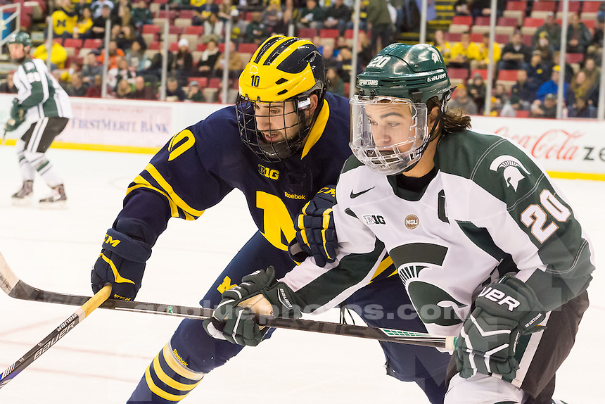 "The University of Michigan ice hockey team, 2-1 loss to Michigan State University, in the ""Dual in the D"" at Joe Louis Arena in Detroit, MI. on Jan. 30, 2015."