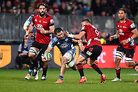 25th July 2020, Christchurch, New Zealand;  DuPlessis Kirifi of the Hurricanes looks to offload in the tackle of Bryn Hall of the Crusaders during the Super Rugby Aotearoa, Crusaders versus Hurricanes at Orangetheory stadium, Christchurch