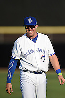 Dunedin Blue Jays third baseman Mitch Nay (28) before a game against the Bradenton Marauders on April 14, 2015 at Florida Auto Exchange Stadium in Dunedin, Florida.  Bradenton defeated Dunedin 7-1.  (Mike Janes/Four Seam Images)