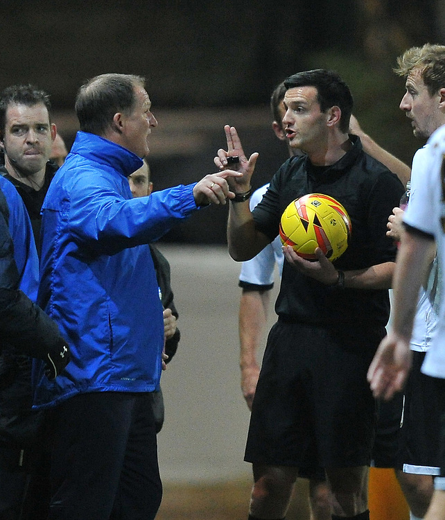 Preston North End's Manager Simon Grayson  argues with referee A Madeley<br /> <br /> Photo by Dave Howarth/CameraSport<br /> <br /> Football - The Football League Sky Bet League One - Port Vale v Preston North End - Tuesday 26th November 2013 - Vale Park - Burslem<br /> <br /> &copy; CameraSport - 43 Linden Ave. Countesthorpe. Leicester. England. LE8 5PG - Tel: +44 (0) 116 277 4147 - admin@camerasport.com - www.camerasport.com