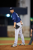 Lakeland Flying Tigers relief pitcher Trey Teakell (21) looks in for the sign during the second game of a doubleheader against the Tampa Tarpons on May 31, 2018 at George M. Steinbrenner Field in Tampa, Florida.  Lakeland defeated Tampa 3-2.  (Mike Janes/Four Seam Images)