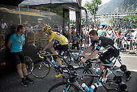 Chris Froome (GBR/SKY) warming up at the teambus ahead of stage 10 from Escaldes-Engordany (Andorra) to  Revel (France), as straight from the start the riders will be climbing up to the highest point in this edition's Tour: the Port d'Envalira (Cat1/2408m/22.6km at 5.5%)<br /> <br /> stage 10: Escaldes-Engordany (AND) - Revel (FR)<br /> 103rd Tour de France 2016