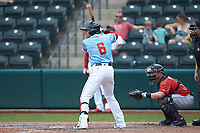 Yu Chang (6) of the Columbus Clippers at bat against the Indianapolis Indians at Huntington Park on June 17, 2018 in Columbus, Ohio. The Indians defeated the Clippers 6-3.  (Brian Westerholt/Four Seam Images)