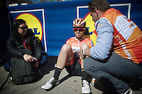 A very disappointed Evelyn Stevens (USA/Boels-Dolmans) immediately after finishing 2nd in the Women's Flèche Wallonne 2016