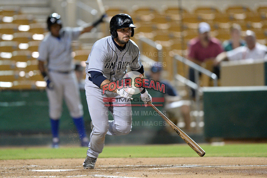 Peoria Javelinas catcher Austin Hedges (11), of the San Diego Padres organization, during an Arizona Fall League game against the Glendale Desert Dogs on October 14, 2013 at Camelback Ranch Stadium in Glendale, Arizona.  Glendale defeated Peoria 5-1.  (Mike Janes/Four Seam Images)