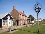 Village sign and shops Walberswick, Suffolk