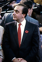 FILE - Joseph Ghiz at a Provincial premier conference in Ottawa, circa 1987<br /> <br /> Photo : Agence Quebec Presse