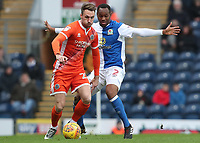 Blackburn Rovers' Ryan Nyambe and Shrewsbury Town's Chris Gallagher<br /> <br /> Photographer Rachel Holborn/CameraSport<br /> <br /> The EFL Sky Bet League One - Blackburn Rovers v Shrewsbury Town - Saturday 13th January 2018 - Ewood Park - Blackburn<br /> <br /> World Copyright &copy; 2018 CameraSport. All rights reserved. 43 Linden Ave. Countesthorpe. Leicester. England. LE8 5PG - Tel: +44 (0) 116 277 4147 - admin@camerasport.com - www.camerasport.com
