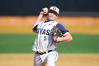 Georgetown Hoyas relief pitcher David Ellingson (5) in action against the Marshall Thundering Herd at Wake Forest Baseball Park on February 15, 2014 in Winston-Salem, North Carolina.  The Thundering Herd defeated the Hoyas 5-1.  (Brian Westerholt/Four Seam Images)