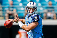 Sept 11, 2011:  Tennessee Titans quarterback Jake Locker (10) warms up before the start of action between the Jacksonville Jaguars and the Tennessee Titans at EverBank Field in Jacksonville, Florida. Jacksonville defeated Tennessee 16-14.........