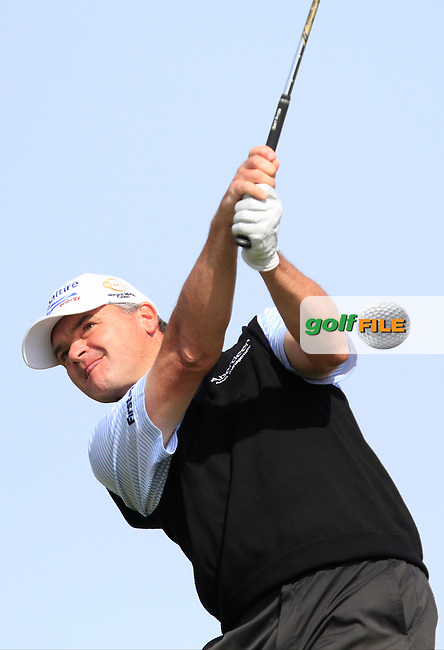 Paul Lawrie (SCO) on the 8th tee during Round 1 of the 2015 KLM Open at the Kennemer Golf &amp; Country Club in The Netherlands on 10/09/15.<br /> Picture: Thos Caffrey | Golffile