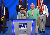 "Timmy Kelly, 23, of Philadelphia, Pennsylvania who was born blind and with cerebral palsy, rehearses the National Anthem which he will sing to open the second day of the 2016 Democratic National Convention held at the Wells Fargo Center in Philadelphia, Pennsylvania on Tuesday, July 26, 2016. Timmy, a senior music major at Temple University is known as the Eagles' ""good luck charm"" because of their win record when he sings before their games.<br /> Credit: Ron Sachs / CNP<br /> (RESTRICTION: NO New York or New Jersey Newspapers or newspapers within a 75 mile radius of New York City)"
