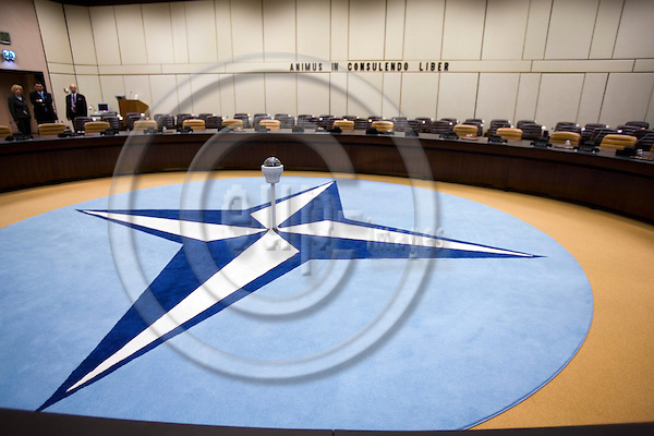 BRUSSELS - BELGIUM - 06 MARCH 2009 --  The NATO Headquarters North Atlantic Treaty Organisation meeting room where the logo is on the carpet.  Photo: Erik Luntang/EUP-IMAGES