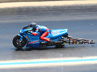 Jul 23, 2017; Morrison, CO, USA; NHRA pro stock motorcycle rider Scott Pollacheck during the Mile High Nationals at Bandimere Speedway. Mandatory Credit: Mark J. Rebilas-USA TODAY Sports