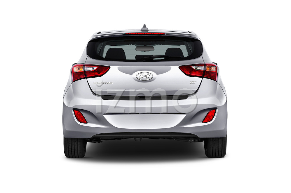 Straight rear view of 2016 Hyundai Elantra Gt 5 Door Hatchback stock images