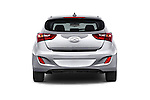 Straight rear view of 2017 Hyundai Elantra Gt 5 Door Hatchback stock images