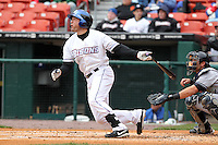 Buffalo Bisons outfielder Vinny Rottino #4 during a game against the Empire State Yankees at Coca-Cola Field on April 12, 2012 in Buffalo, New York.  Empire State defeated Buffalo 7-2.  (Mike Janes/Four Seam Images)