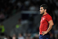 Brice Dulin of France looks on during a break in play. QBE International match between England and France on August 15, 2015 at Twickenham Stadium in London, England. Photo by: Patrick Khachfe / Onside Images