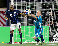 Foxborough, MA - May 25, 2019: In a Major League Soccer (MLS) match, New England Revolution (blue/white) tied D.C. United (white), 1-1, at Gillette Stadium on May 25, 2019 in Foxborough, MA. (Photo by Andrew Katsampes/ISI Photos).<br /> Free kick save.