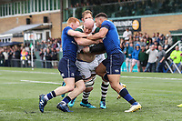 Sam Dickinson of Ealing Trailfinders looks for a way through the Leinster Rugby A defence during the British & Irish Cup Final match between Ealing Trailfinders and Leinster Rugby at Castle Bar, West Ealing, England  on 12 May 2018. Photo by David Horn / PRiME Media Images.