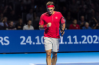 27th October 2019; St. Jakobshalle, Basel, Switzerland; ATP World Tour Tennis, Swiss Indoors Final; Roger Federer (SUI) fist pumps in the match against Alex de Minaur (AUS) - Editorial Use