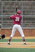 Patrick McColl (31) of the Harvard Crimson at bat against the Wake Forest Demon Deacons at David F. Couch Ballpark on March 5, 2016 in Winston-Salem, North Carolina.  The Crimson defeated the Demon Deacons 6-3.  (Brian Westerholt/Four Seam Images)