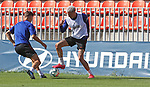Atletico de Madrid's Ivan Saponjic (l) and Jose Maria Gimenez during training session. May 30,2020.(ALTERPHOTOS/Atletico de Madrid/Pool)
