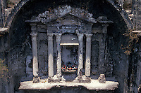 Altar of the ruined Templo de San Juan Parangaricutiro near Angahuan, Michoacan, Mexico. In 1943, this church was half-buried by a lava flow from nearby Volcan Paricutin.