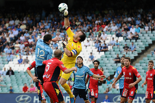 16.02.2013 Sydney, Australia. Adelaide goalkeeper and captain Eugene Galekovic in action during the Hyundai A League game between Sydney FC and Adelaide United from the Allianz Stadium.