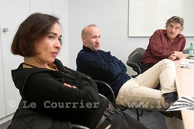 Genève, le 12.11.2008.Mme Chantal Berthoud, Christian Muller et Charles Magnin..© Le Courrier / J.-P. Di Silvestro .